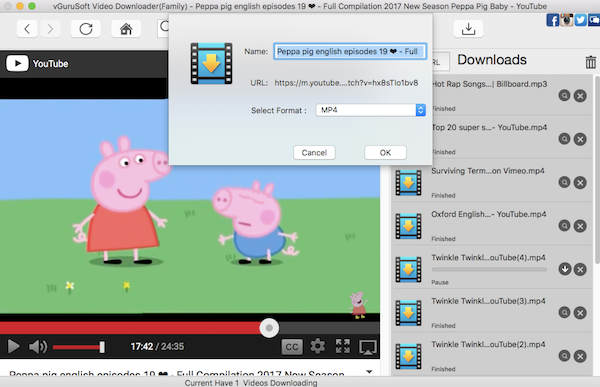 Peppa Pig videos Free Download from YouTube on Mac